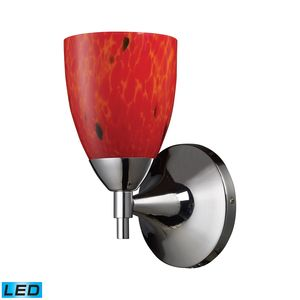 Celina 1-Light Sconce In Polished Chrome And Fire Red Glass by Elk Lighting