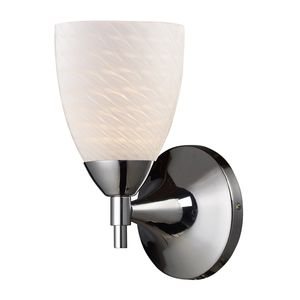 Celina 1-Light Sconce In Polished Chrome With White Swirl Glass by Elk Lighting