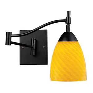 Celina 1-Light Swingarm Sconce In Dark Rust And Canary Glass by Elk Lighting