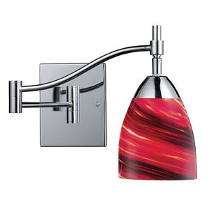 Celina 1-Light Swingarm Sconce In Polished Chrome And Autumn Glass by Elk Lighting
