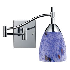 Celina 1-Light Swingarm Sconce In Polished Chrome And Starburst Blue Glass by Elk Lighting