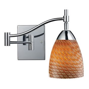 Celina 1-Light Swingarm Sconce In Polished Chrome And Coco Glass by Elk Lighting
