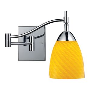 Celina 1-Light Swingarm Sconce In Polished Chrome And Canary Glass by Elk Lighting