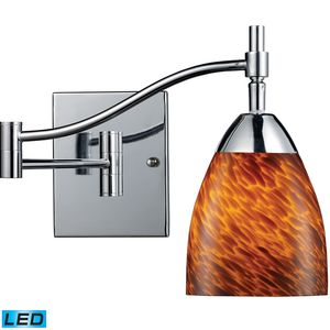 Celina 1-Light Swingarm Sconce In Polished Chrome And Espresso Glass by Elk Lighting
