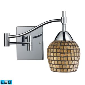 Celina 1-Light Swingarm Sconce In Polished Chrome And Gold Leaf Glass by Elk Lighting