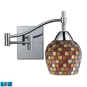Celina 1-Light Swingarm Sconce In Polished Chrom And Multi Fusion Glass by Elk Lighting