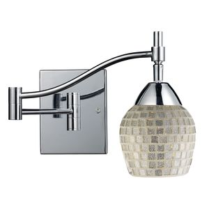 Celina 1-Light Swingarm Sconce In Polished Chrome And Silver Glass by Elk Lighting