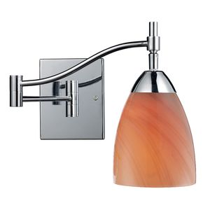 Celina 1-Light Swingarm Sconce In Polished Chrome And Sandy Glass by Elk Lighting