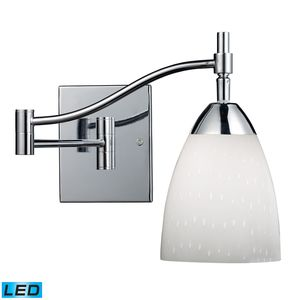Celina 1-Light Swingarm Sconce In Polished Chrome And Simple Whit Glass by Elk Lighting