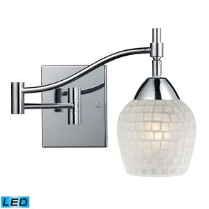 Celina 1-Light Swingarm Sconce In Polished Chrome And White Glass by Elk Lighting