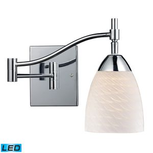 Celina 1-Light Swingarm In Polished Chrome And White Swirl Glass by Elk Lighting