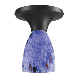 Celina 1-Light Semi-Flush In Dark Rust And Starburst Blue Glass by Elk Lighting