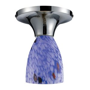 Celina 1-Light Semi-Flush In Polished Chrome And Starburst Blue Glass by Elk Lighting