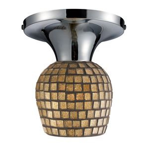 Celina 1-Light Semi-Flush In Polished Chrome And Gold Leaf Glass by Elk Lighting