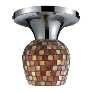 Celina 1-Light Semi-Flush In Polished Chrome And Multi Fusion Glass by Elk Lighting