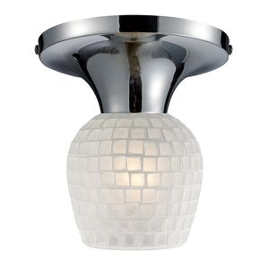 Celina 1-Light Semi-Flush In Polished Chrome And White Glass by Elk Lighting