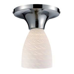 Celina 1-Light Semi-Flush In Polished Chrome And White Swirl Glass by Elk Lighting