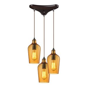 Hammered Glass Collection 3 Light Chandelier In Oil Rubbed Bronze by Elk Lighting