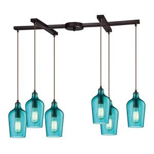 Hammered Glass Collection 6 Light Chandelier In Oil Rubbed Bronze by Elk Lighting