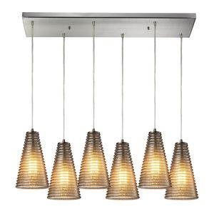 Ribbed Glass Collection 6 Light Chandelier In Satin Nickel by Elk Lighting