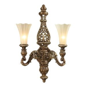 Allesandria Collection 2 Light Sconce In Burnt Bronze/Weathered Gold Leaf by Elk Lighting