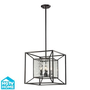 Cubix 4 Light Pendant In Oiled Bronze by Elk Lighting