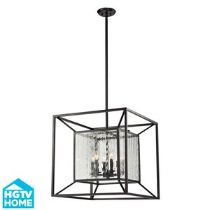 Cubix 6 Light Pendant In Oiled Bronze by Elk Lighting