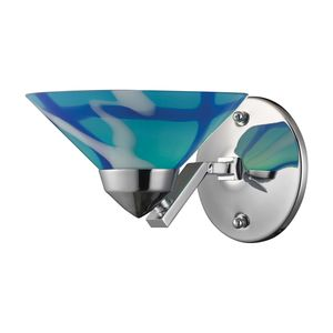 1 Light Sconce In Polished Chrome And Carribean Glass by Elk Lighting