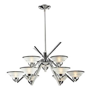 9 Light Chandelier In Polished Chrome And Etched Clear Glass by Elk Lighting