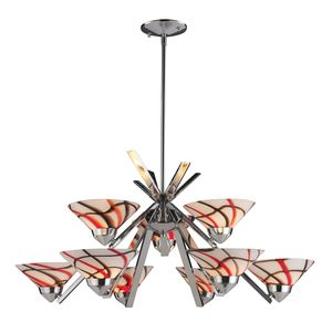 9 Light Chandelier In Polished Chrome And Creme White Glass by Elk Lighting