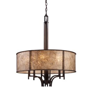 Barringer 6-Light Pendelier In Aged Bronze And Tan Mica Shade by Elk Lighting