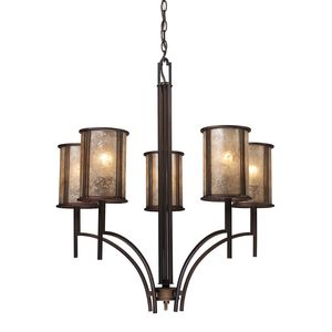Barringer 5-Light Chandelier In Aged Bronze And Tan Mica Shades by Elk Lighting