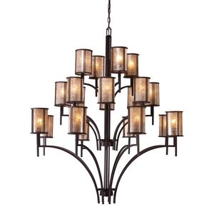 Barringer 8+8+4 Light Chandelier In Aged Bronze And Tan Mica Shades by Elk Lighting
