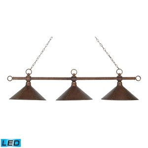 Designer Classics 3-Light Billiard/Island In Antique Copper With Hand Hammered Iron Shades by Elk Lighting