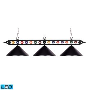 Designer Classics 3-Light Billiard/Island In Matte Black With Metal  Shades by Elk Lighting