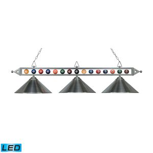 Designer Classics 3-Light Billiard/Island In Satin Nickel With Metal Shades by Elk Lighting
