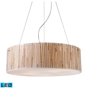 Modern Organics-5-Light Pendant In Bamboo Stem Material In Polished Chrome by Elk Lighting
