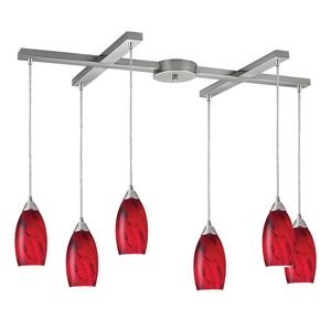 Galaxy 6-Light Pendant In Red And Satin Nickel Finish by Elk Lighting
