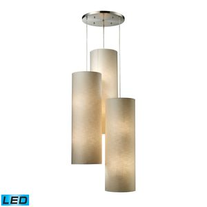 Fabric Cylinder 12-Light Round Pendant In Satin Nickel by Elk Lighting