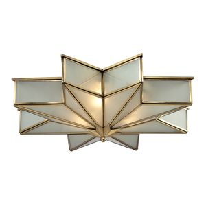 Decostar Collection 3 Light Flushmount In Brushed Brass by Elk Lighting