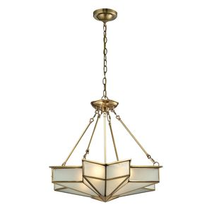 Decostar Collection 4 Light Pendant In Brushed Brass by Elk Lighting