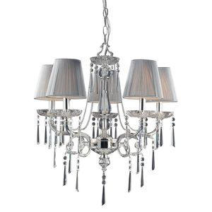 5 Light Chandelier In Polished Silver And Iced Glass by Elk Lighting