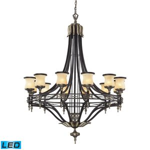 12 Light Chandelier In Antique Bronze & Dark Umber And Marblized Amber Glass by Elk Lighting