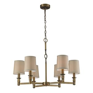6- Light Chandelier In Brushed Antique Brass by Elk Lighting