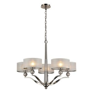 Corisande 5 Light Chandelier In Polished Nickel by Elk Lighting