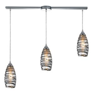 Twister 3 Light Pendant In Polished Chrome by Elk Lighting