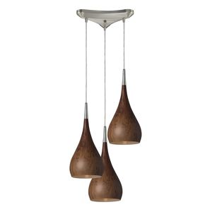 Lindsey 3 Light Pendant In Burl Wood And Satin Nickel by Elk Lighting