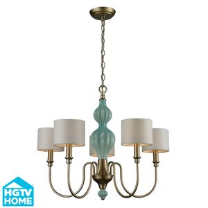 Lilliana 5 Light Chandelier In Seafoam And Aged Silver by Elk Lighting