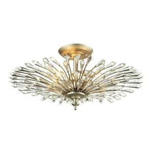 Viva Collection 3 Light Semi Flush In Aged Silver by Elk Lighting