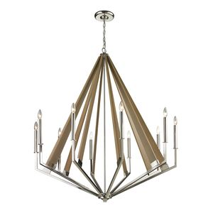Madera Collection 10 Light Chandelier In Polished Nickel by Elk Lighting